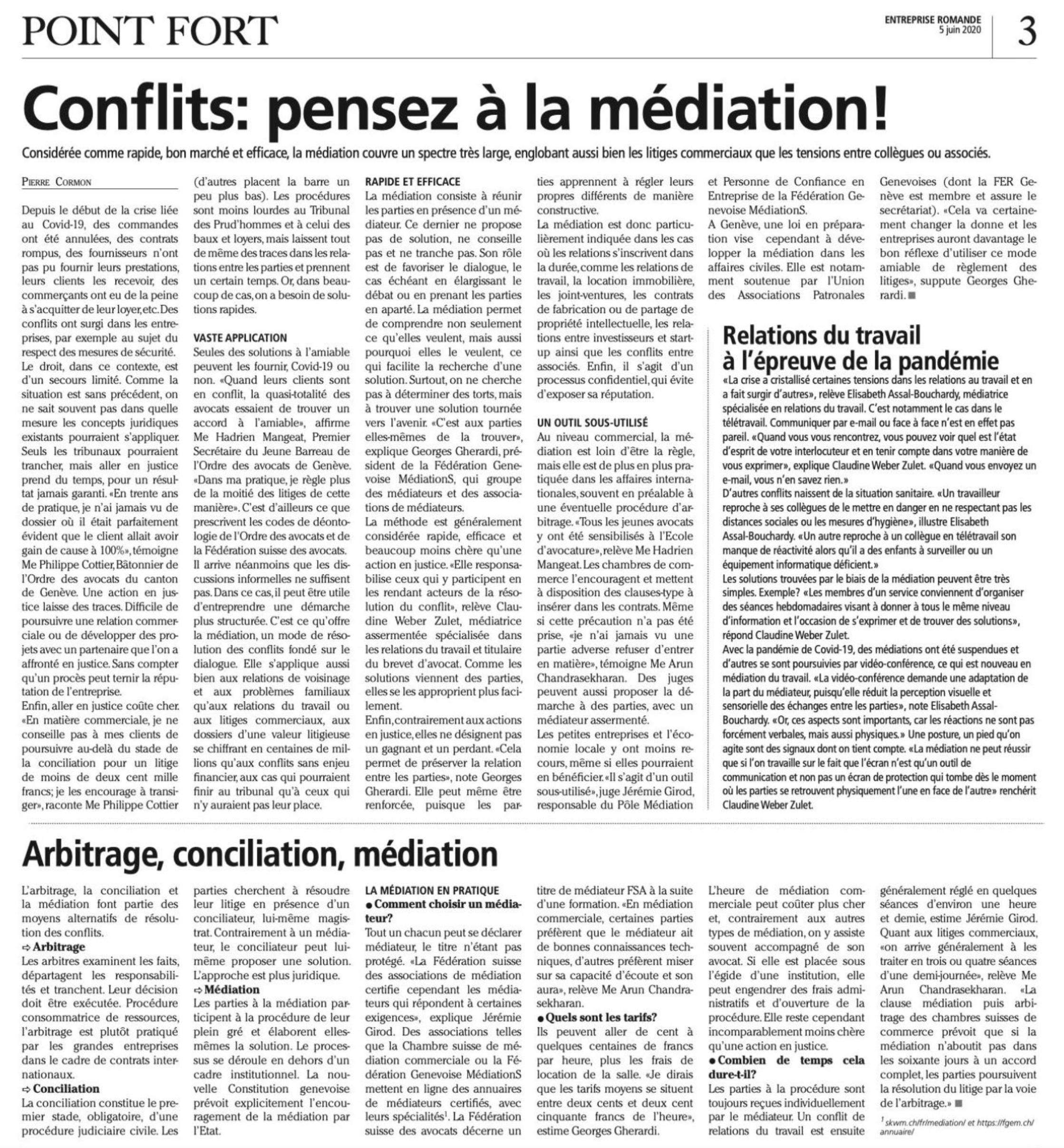 La médiation en Suisse